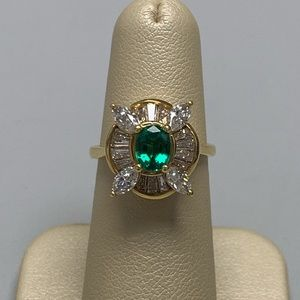 Jewelry - 18K Yellow Gold Emerald and Diamond Ring Size 5